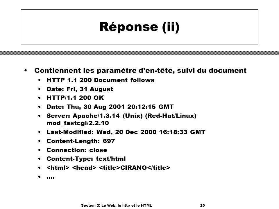 Section 3: Le Web, le http et le HTML20 Réponse (ii) Contiennent les paramètre d en-tête, suivi du document HTTP 1.1 200 Document follows Date: Fri, 31 August HTTP/1.1 200 OK Date: Thu, 30 Aug 2001 20:12:15 GMT Server: Apache/1.3.14 (Unix) (Red-Hat/Linux) mod_fastcgi/2.2.10 Last-Modified: Wed, 20 Dec 2000 16:18:33 GMT Content-Length: 697 Connection: close Content-Type: text/html CIRANO....