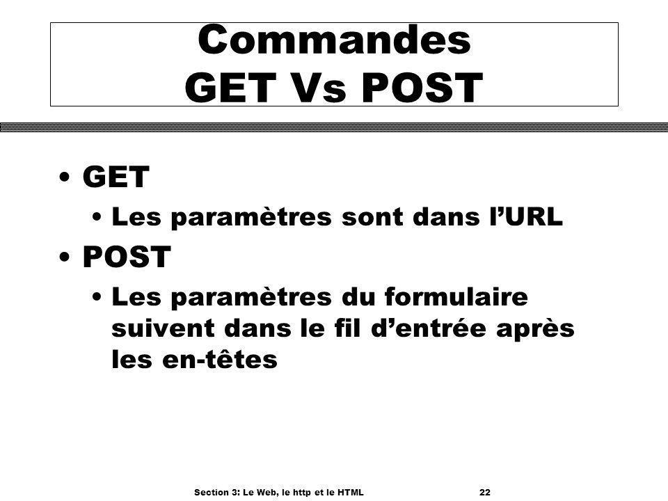 Section 3: Le Web, le http et le HTML22 Commandes GET Vs POST GET Les paramètres sont dans lURL POST Les paramètres du formulaire suivent dans le fil dentrée après les en-têtes