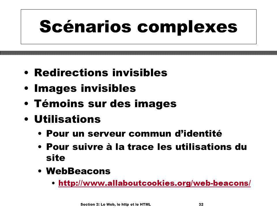 Section 3: Le Web, le http et le HTML32 Scénarios complexes Redirections invisibles Images invisibles Témoins sur des images Utilisations Pour un serveur commun didentité Pour suivre à la trace les utilisations du site WebBeacons http://www.allaboutcookies.org/web-beacons/