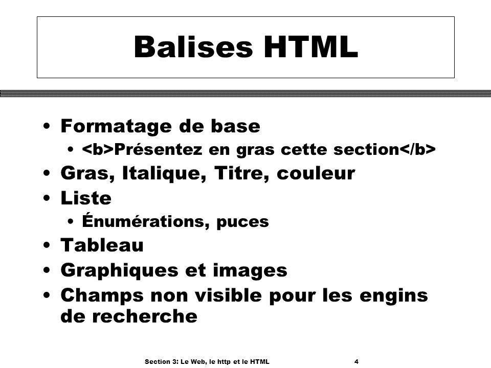 Section 3: Le Web, le http et le HTML4 Balises HTML Formatage de base Présentez en gras cette section Gras, Italique, Titre, couleur Liste Énumérations, puces Tableau Graphiques et images Champs non visible pour les engins de recherche