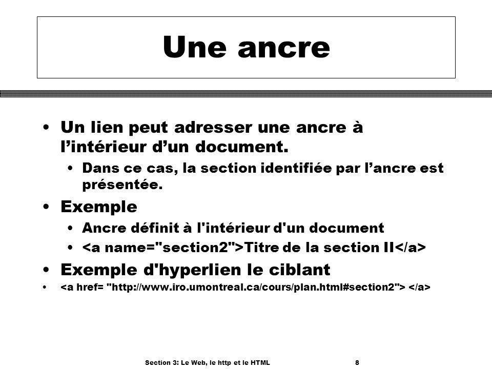 Section 3: Le Web, le http et le HTML8 Une ancre Un lien peut adresser une ancre à lintérieur dun document.