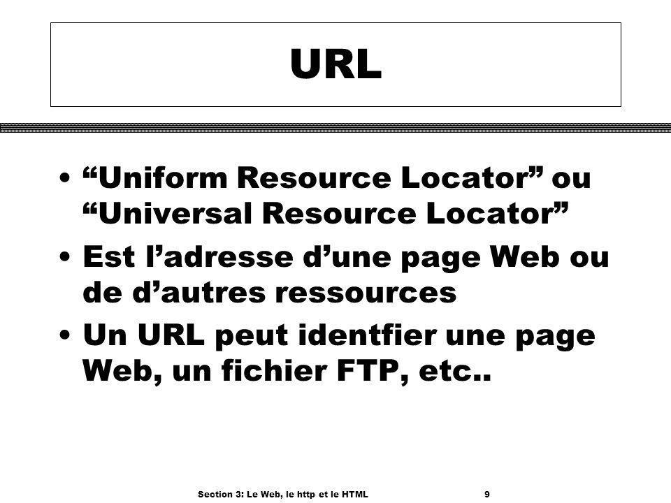 Section 3: Le Web, le http et le HTML9 URL Uniform Resource Locator ou Universal Resource Locator Est ladresse dune page Web ou de dautres ressources Un URL peut identfier une page Web, un fichier FTP, etc..