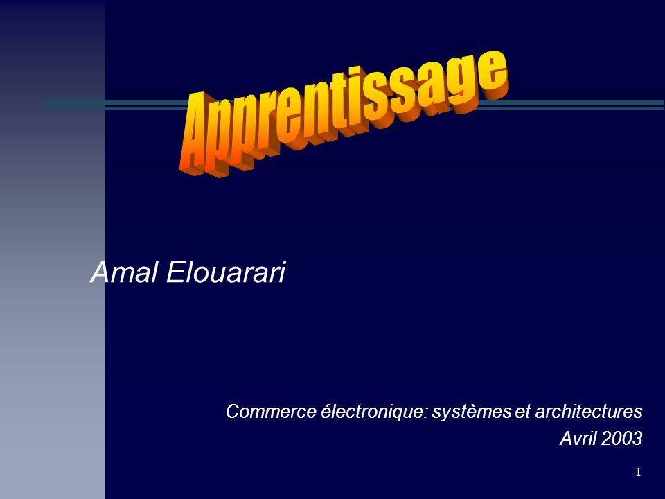 1 Amal Elouarari Commerce électronique: systèmes et architectures Avril 2003