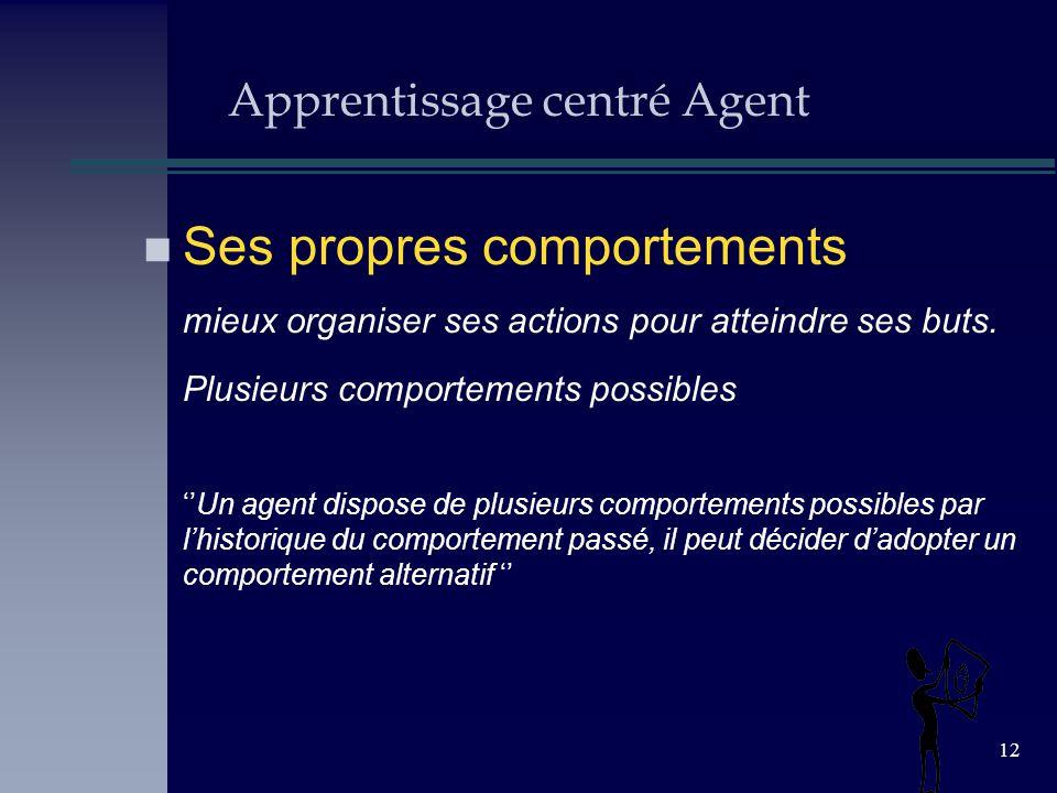12 Apprentissage centré Agent n Ses propres comportements mieux organiser ses actions pour atteindre ses buts. Plusieurs comportements possibles Un ag
