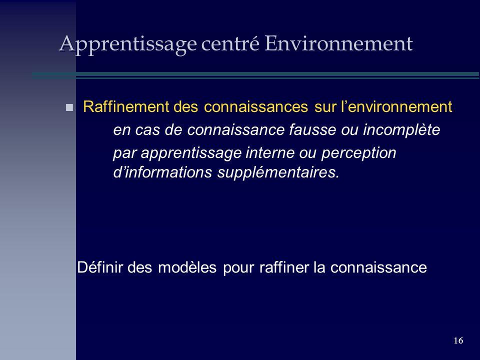 16 Apprentissage centré Environnement n Raffinement des connaissances sur lenvironnement en cas de connaissance fausse ou incomplète par apprentissage interne ou perception dinformations supplémentaires.