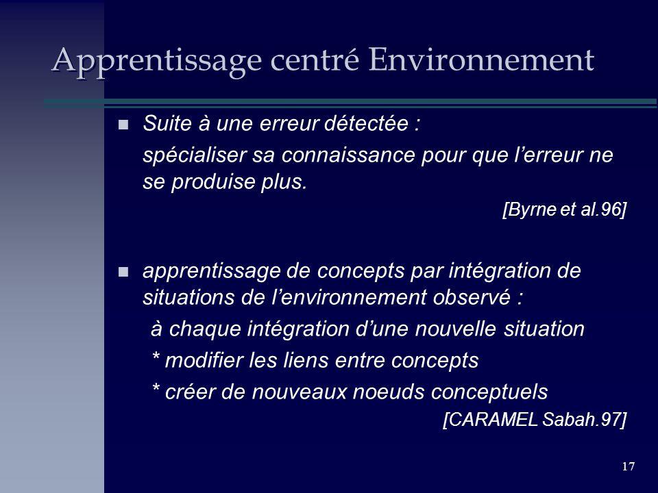 17 Apprentissage centré Environnement n Suite à une erreur détectée : spécialiser sa connaissance pour que lerreur ne se produise plus. [Byrne et al.9