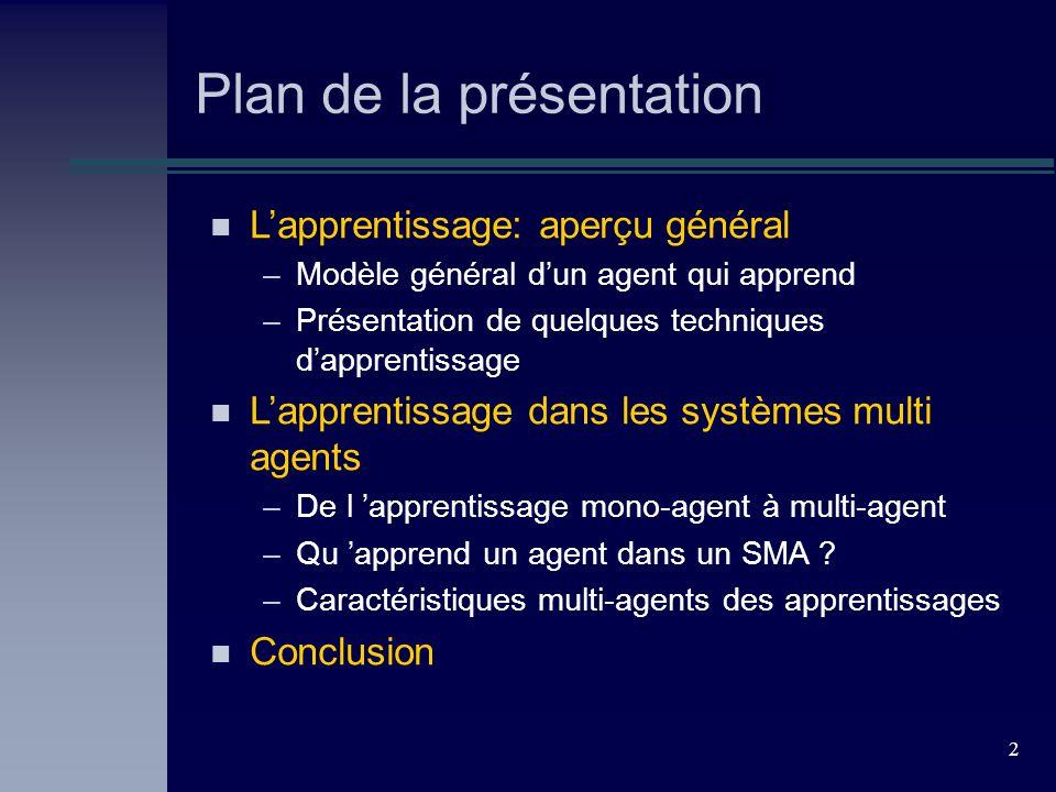 2 Plan de la présentation n Lapprentissage: aperçu général –Modèle général dun agent qui apprend –Présentation de quelques techniques dapprentissage n Lapprentissage dans les systèmes multi agents –De l apprentissage mono-agent à multi-agent –Qu apprend un agent dans un SMA .