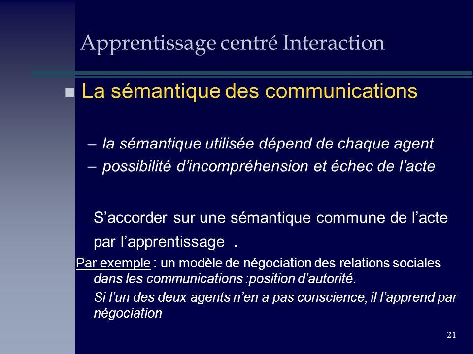 21 Apprentissage centré Interaction n La sémantique des communications –la sémantique utilisée dépend de chaque agent –possibilité dincompréhension et