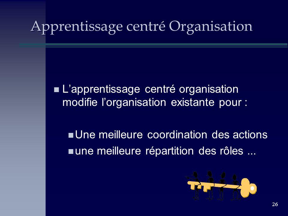 26 Apprentissage centré Organisation n Lapprentissage centré organisation modifie lorganisation existante pour : n Une meilleure coordination des acti