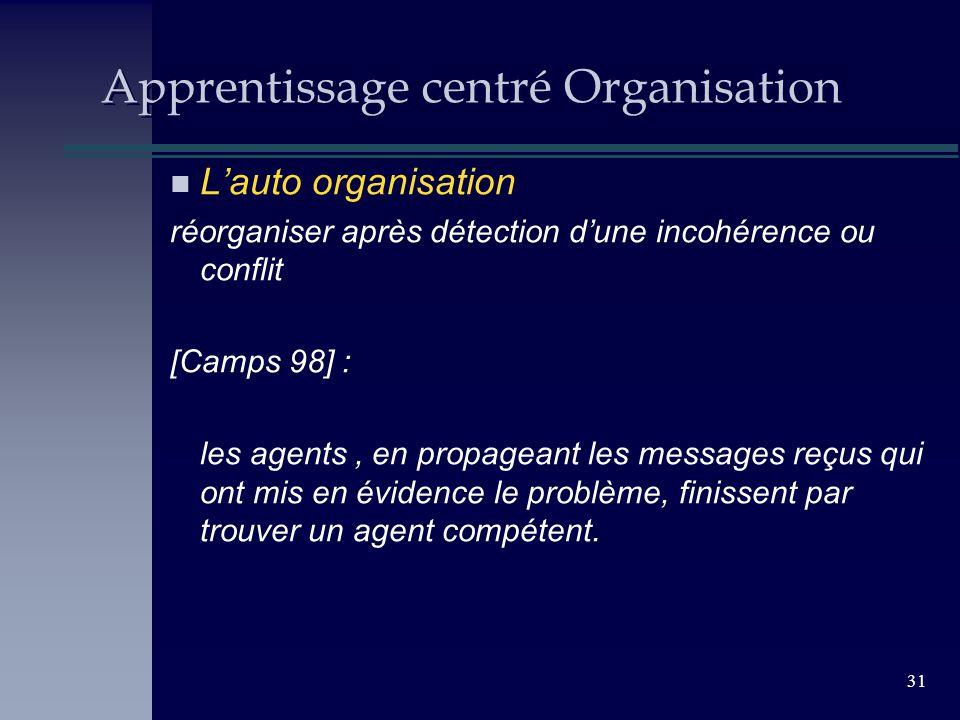 31 Apprentissage centré Organisation n Lauto organisation réorganiser après détection dune incohérence ou conflit [Camps 98] : les agents, en propagea