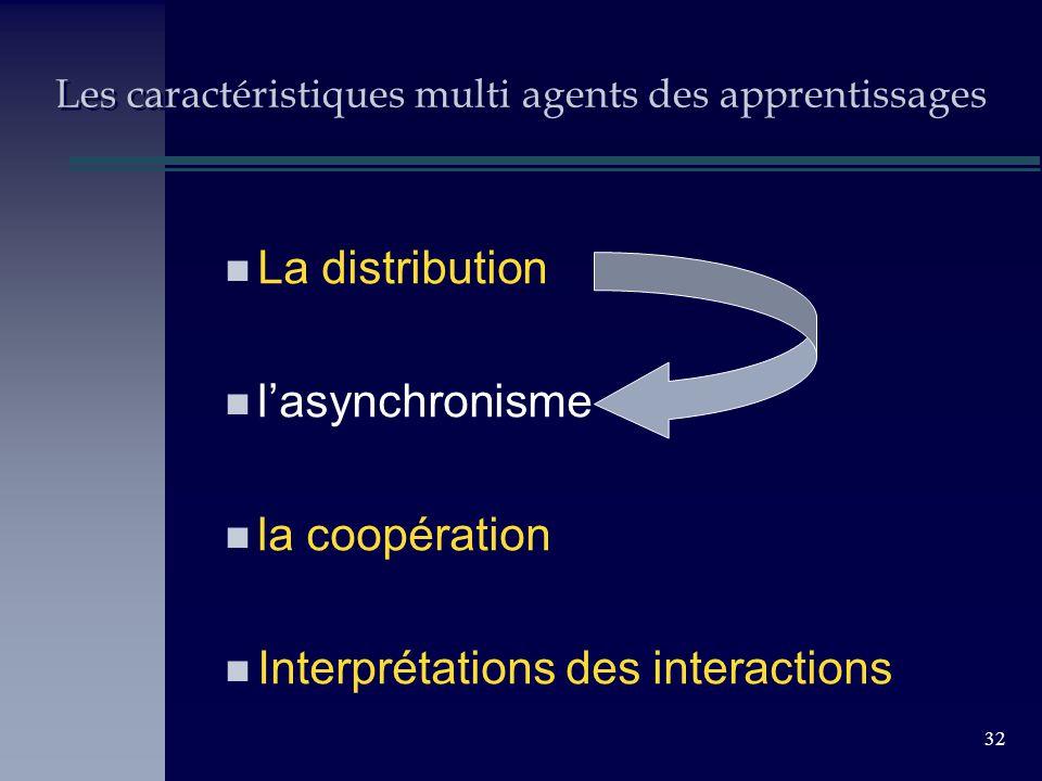 32 Les caractéristiques multi agents des apprentissages n La distribution n lasynchronisme n la coopération n Interprétations des interactions