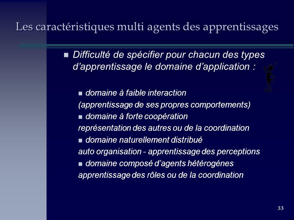 33 Les caractéristiques multi agents des apprentissages n Difficulté de spécifier pour chacun des types dapprentissage le domaine dapplication : n dom