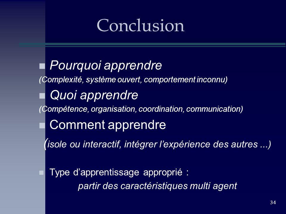 34 Conclusion n Pourquoi apprendre (Complexité, système ouvert, comportement inconnu) n Quoi apprendre (Compétence, organisation, coordination, commun