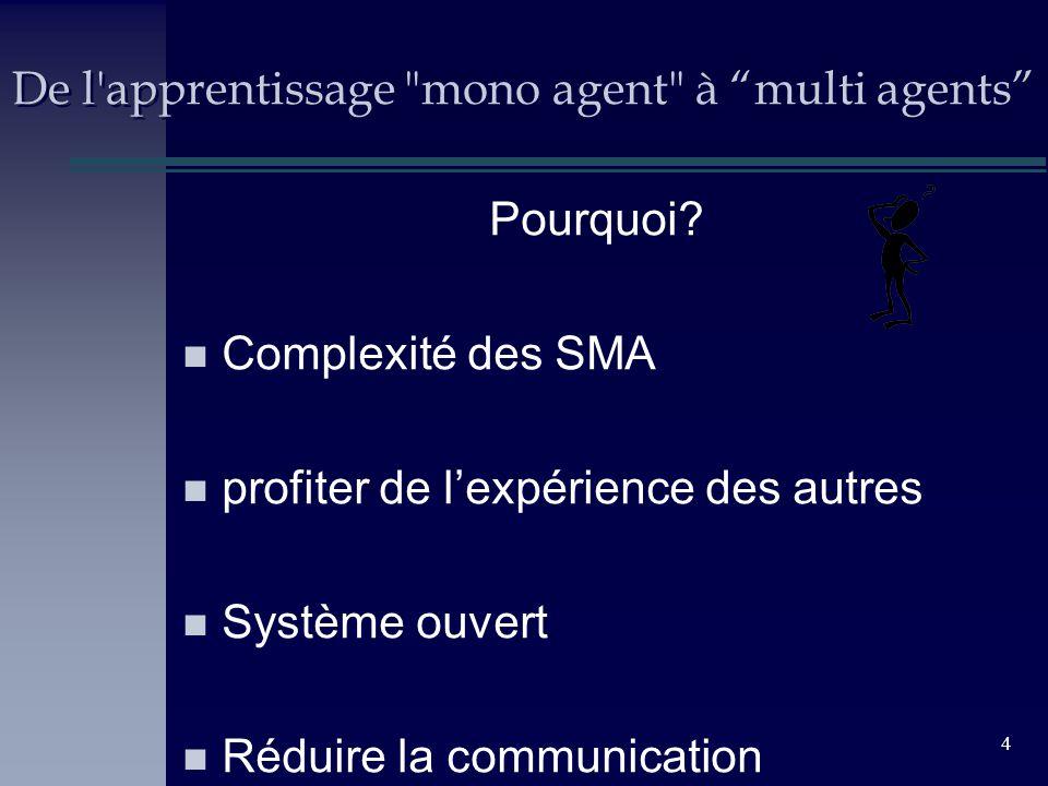 4 De l apprentissage mono agent à multi agents Pourquoi.