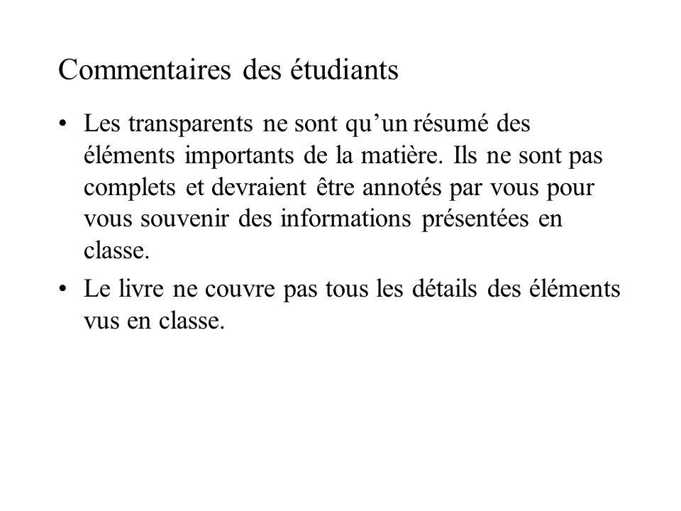 Commentaires des étudiants Les transparents ne sont quun résumé des éléments importants de la matière.