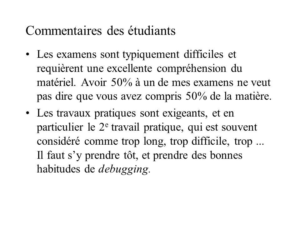 Commentaires des étudiants Les examens sont typiquement difficiles et requièrent une excellente compréhension du matériel.