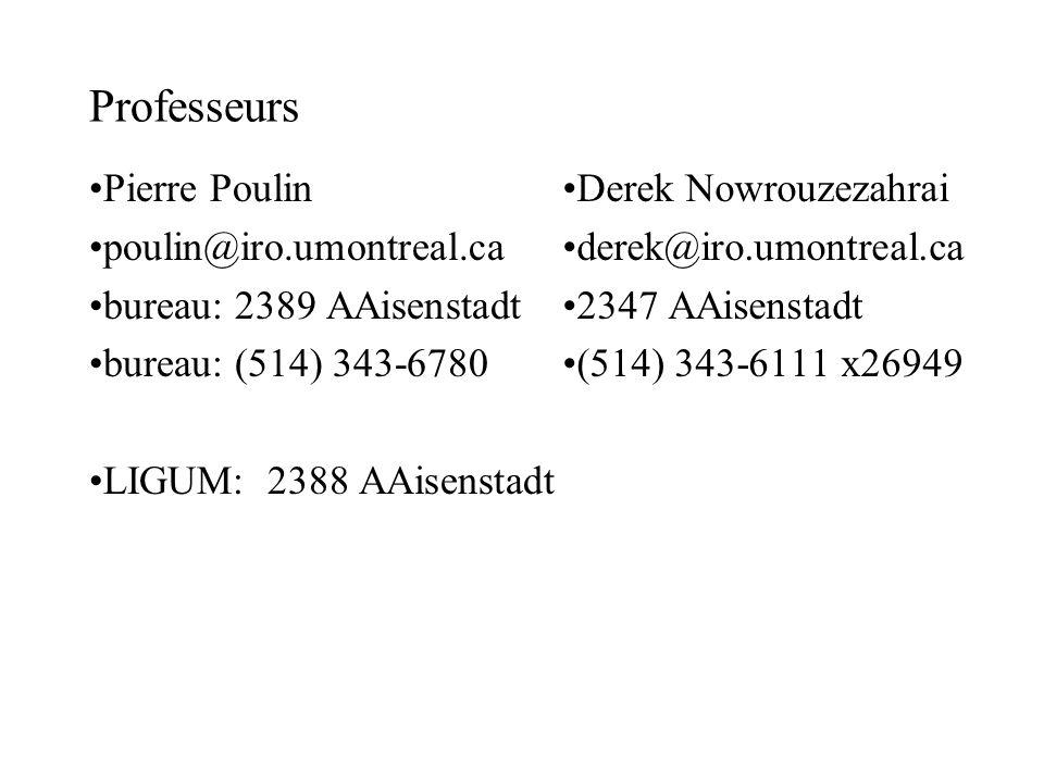 Professeurs Pierre Poulin poulin@iro.umontreal.ca bureau: 2389 AAisenstadt bureau: (514) 343-6780 LIGUM: 2388 AAisenstadt Derek Nowrouzezahrai derek@iro.umontreal.ca 2347 AAisenstadt (514) 343-6111 x26949