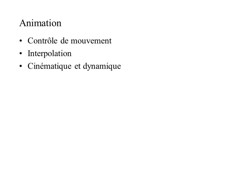 Animation Contrôle de mouvement Interpolation Cinématique et dynamique