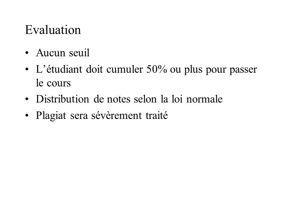 Evaluation Aucun seuil Létudiant doit cumuler 50% ou plus pour passer le cours Distribution de notes selon la loi normale Plagiat sera sévèrement traité