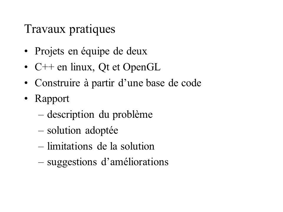 Travaux pratiques Projets en équipe de deux C++ en linux, Qt et OpenGL Construire à partir dune base de code Rapport –description du problème –solution adoptée –limitations de la solution –suggestions daméliorations