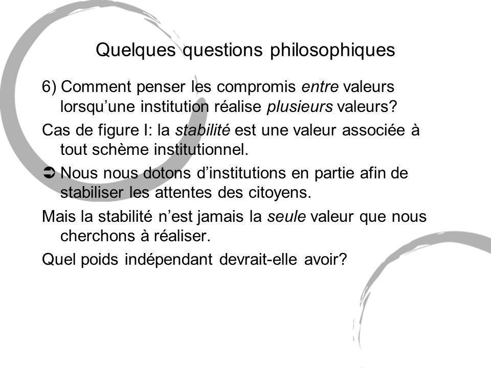 Quelques questions philosophiques 6) Comment penser les compromis entre valeurs lorsquune institution réalise plusieurs valeurs.