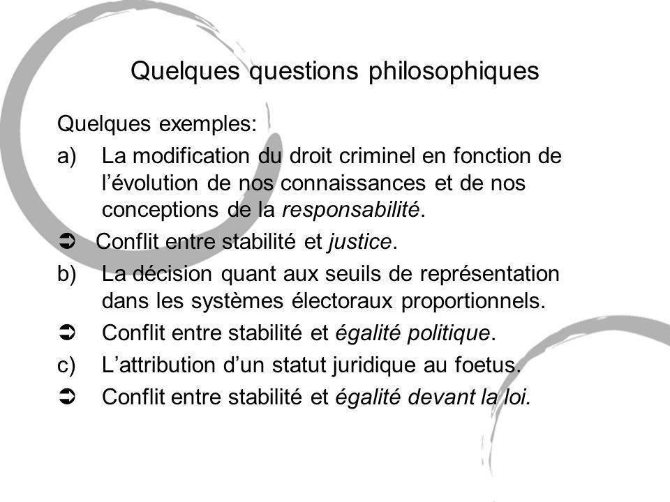 Quelques questions philosophiques Quelques exemples: a)La modification du droit criminel en fonction de lévolution de nos connaissances et de nos conceptions de la responsabilité.