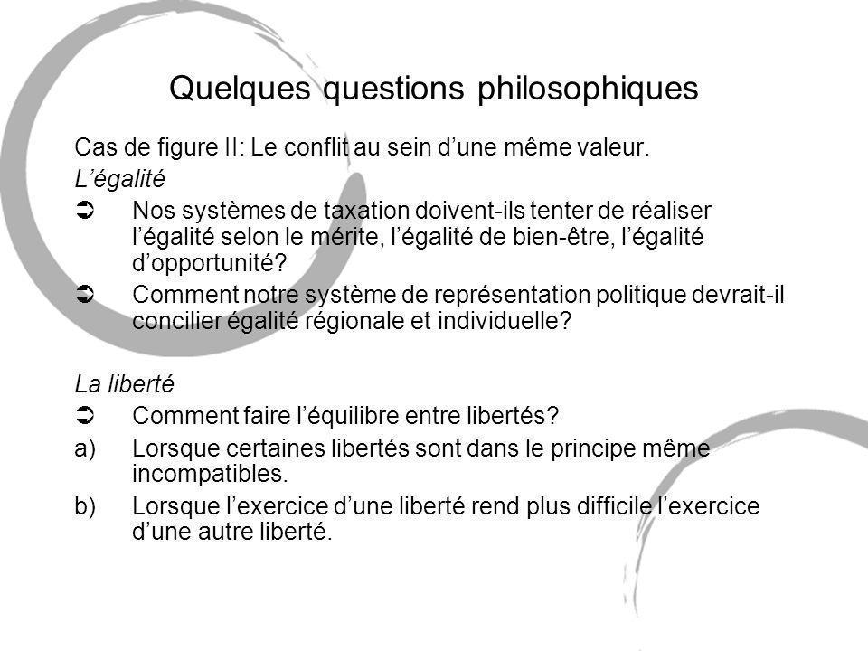 Quelques questions philosophiques Cas de figure II: Le conflit au sein dune même valeur.