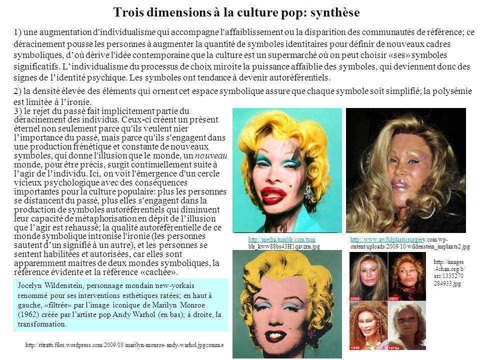 Trois dimensions à la culture pop: synthèse 1) une augmentation d'individualisme qui accompagne l'affaiblissement ou la disparition des communautés de