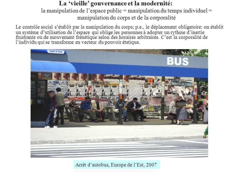 La vieille gouvernance et la modernité: la manipulation de lespace public = manipulation du temps individuel = manipulation du corps et de la corporal