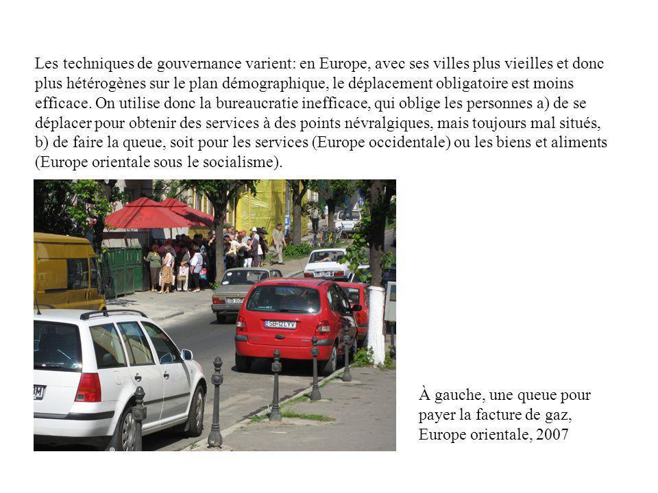 Les techniques de gouvernance varient: en Europe, avec ses villes plus vieilles et donc plus hétérogènes sur le plan démographique, le déplacement obl
