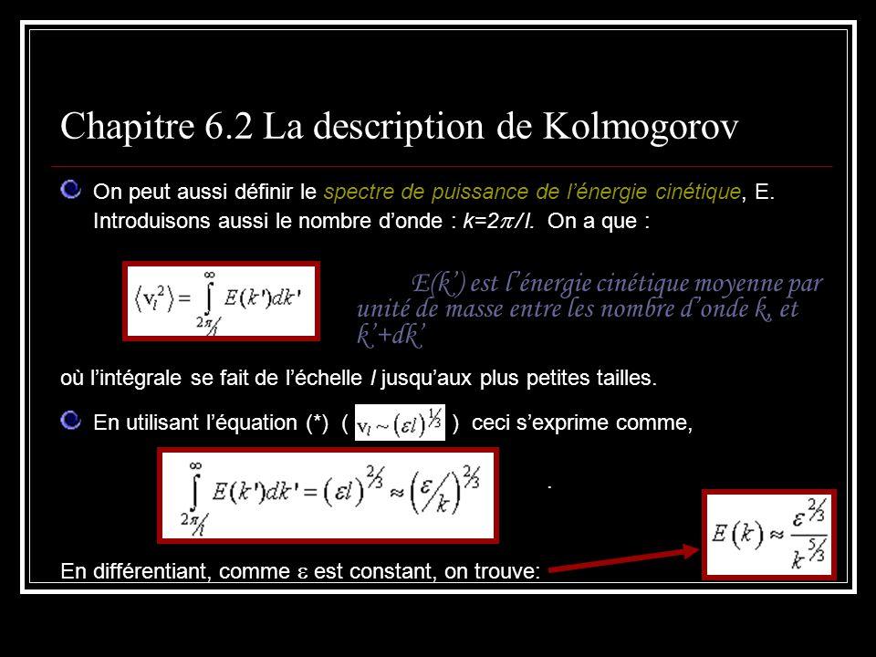 On peut aussi définir le spectre de puissance de lénergie cinétique, E. Introduisons aussi le nombre donde : k=2 / l. On a que : E(k) est lénergie cin