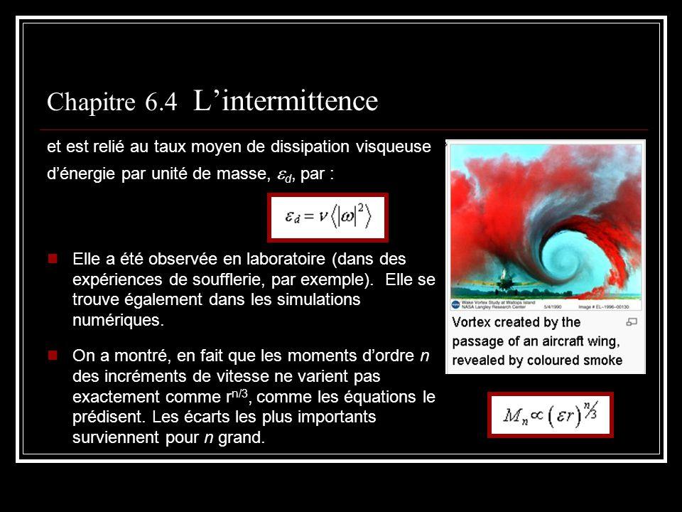 Chapitre 6.4 Lintermittence et est relié au taux moyen de dissipation visqueuse dénergie par unité de masse, d, par : Elle a été observée en laboratoi
