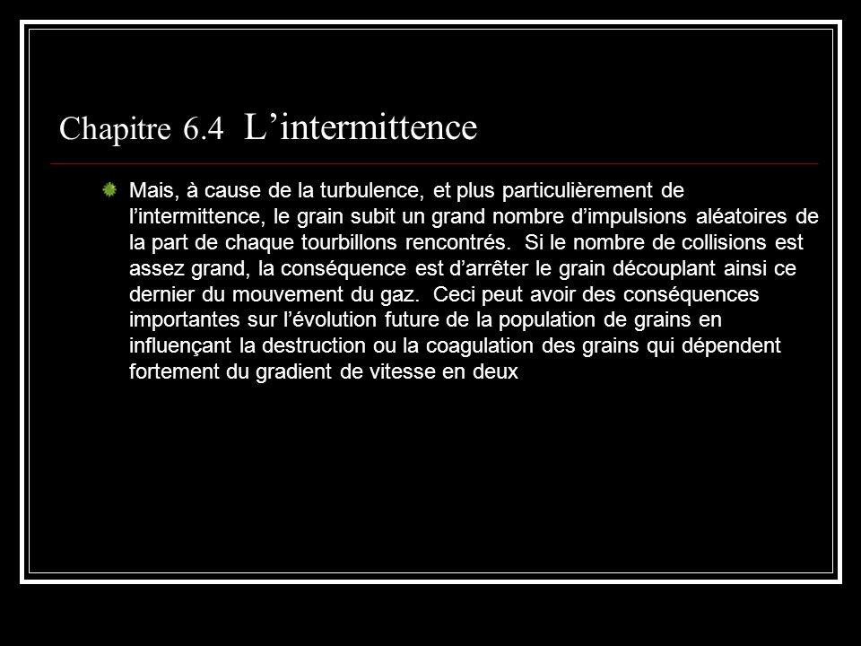 Chapitre 6.4 Lintermittence Mais, à cause de la turbulence, et plus particulièrement de lintermittence, le grain subit un grand nombre dimpulsions alé