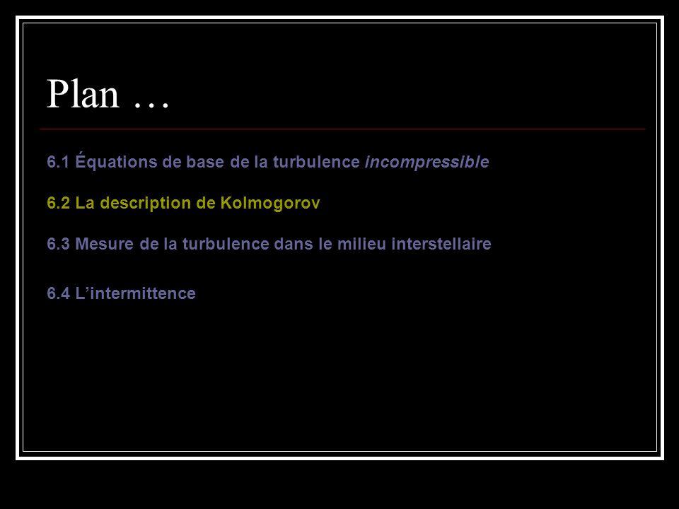 Plan … 6.1 Équations de base de la turbulence incompressible 6.2 La description de Kolmogorov 6.3 Mesure de la turbulence dans le milieu interstellair