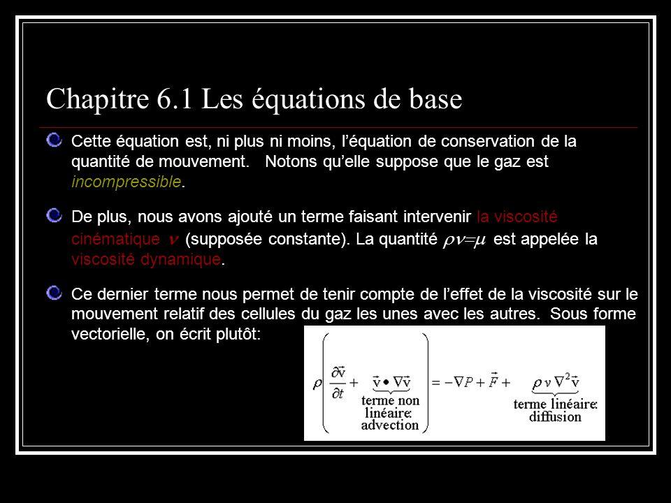 Cette équation est, ni plus ni moins, léquation de conservation de la quantité de mouvement. Notons quelle suppose que le gaz est incompressible. De p