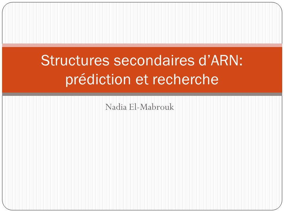 Nadia El-Mabrouk Structures secondaires dARN: prédiction et recherche