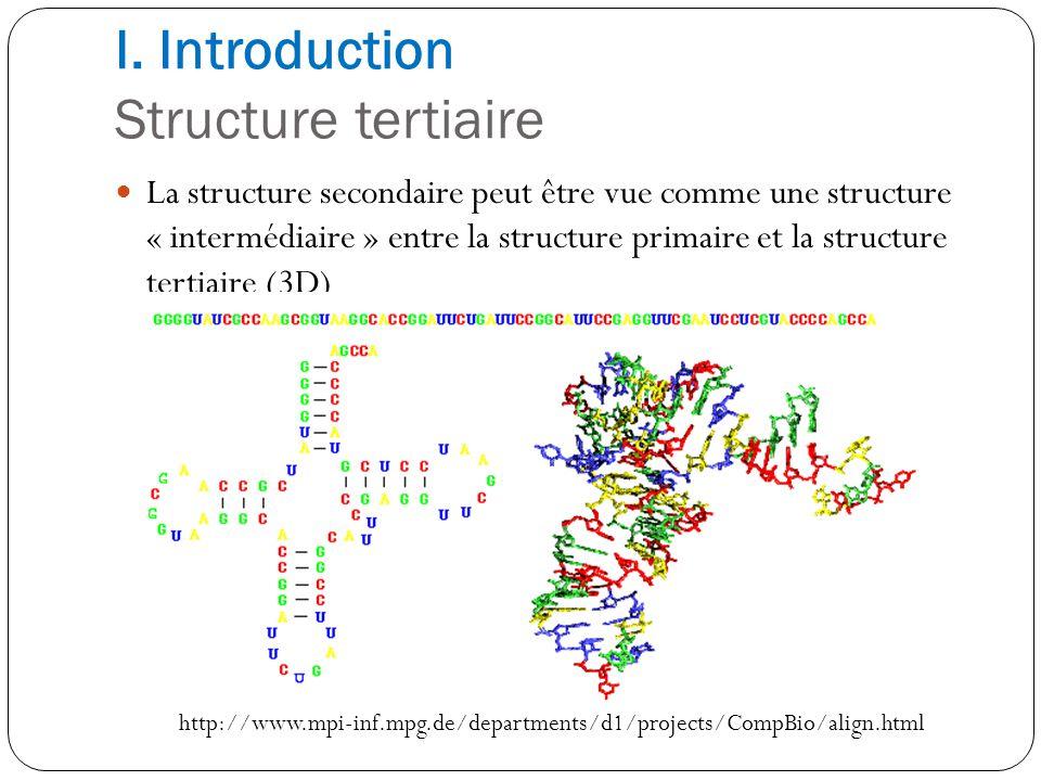 I. Introduction Structure tertiaire La structure secondaire peut être vue comme une structure « intermédiaire » entre la structure primaire et la stru