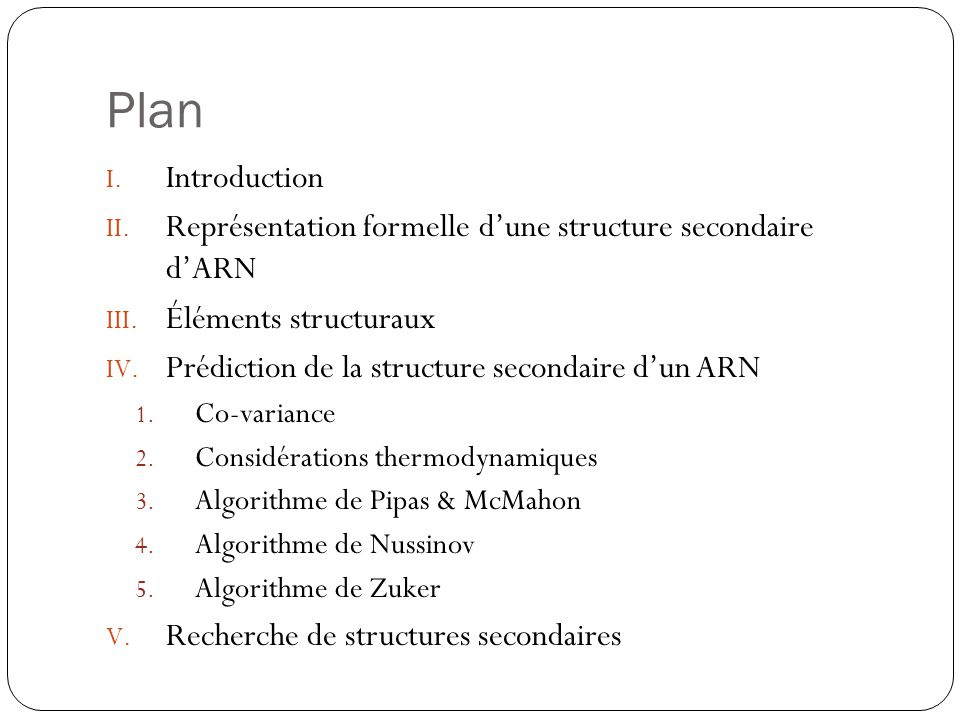 Plan I.Introduction II. Représentation formelle dune structure secondaire dARN III.