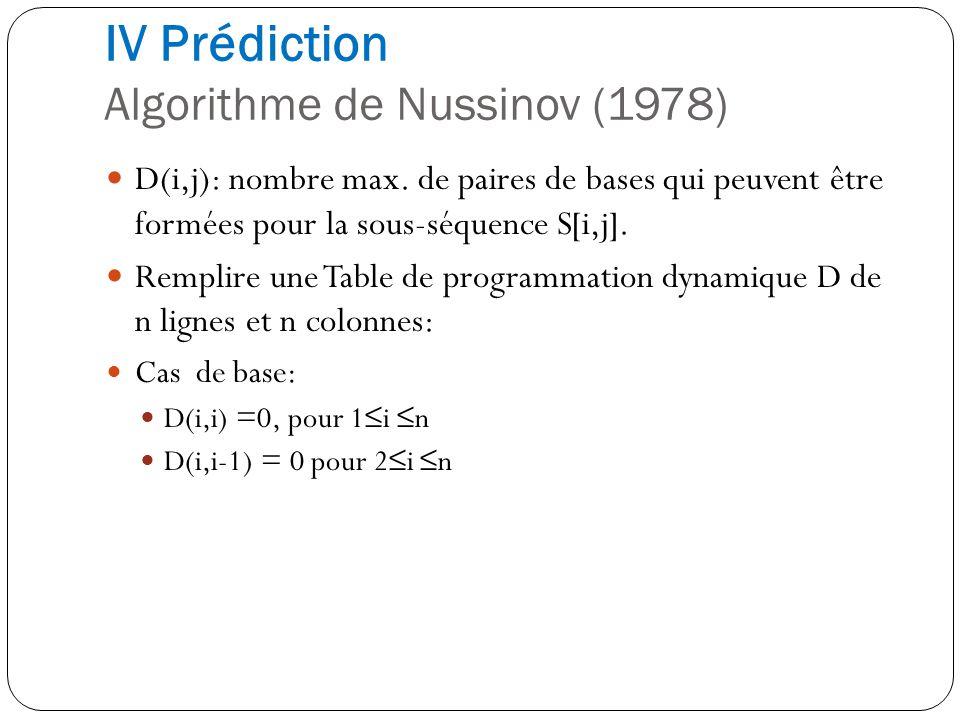 D(i,j): nombre max. de paires de bases qui peuvent être formées pour la sous-séquence S[i,j]. Remplire une Table de programmation dynamique D de n lig