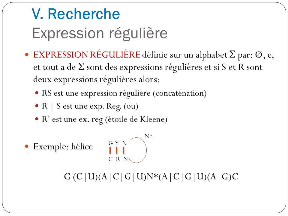 V. Recherche Expression régulière EXPRESSION RÉGULIÈRE définie sur un alphabet par: Ø, e, et tout a de sont des expressions régulières et si S et R so