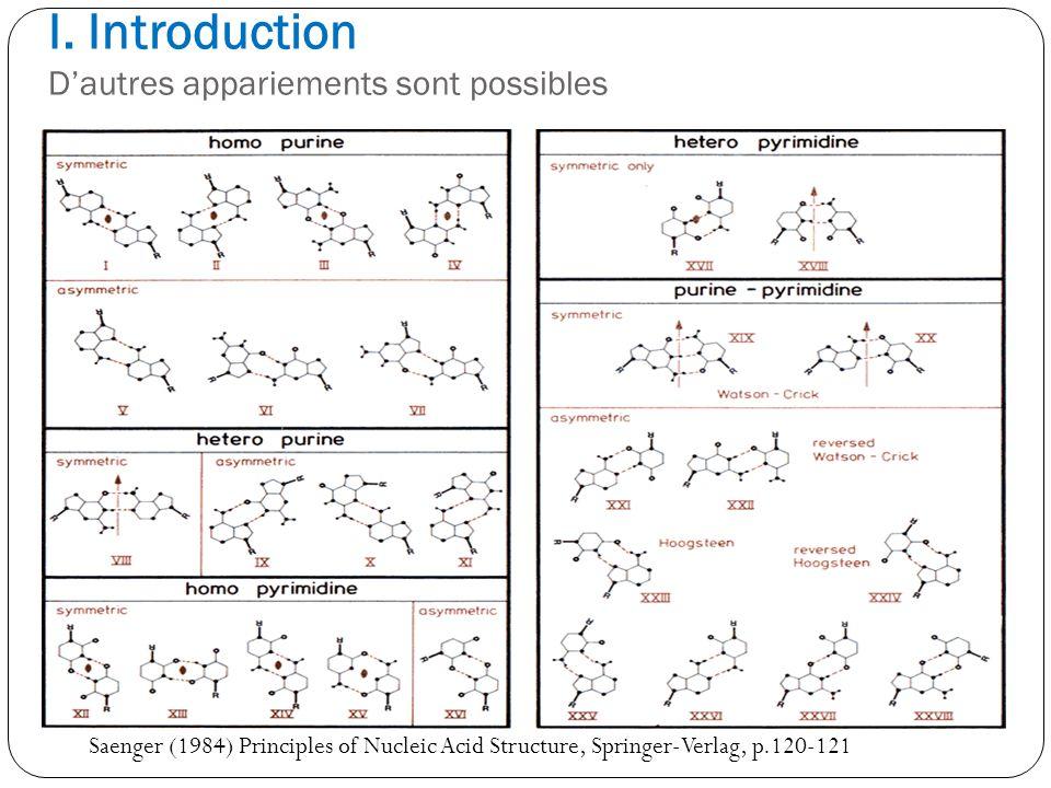 I. Introduction Dautres appariements sont possibles Saenger (1984) Principles of Nucleic Acid Structure, Springer-Verlag, p.120-121