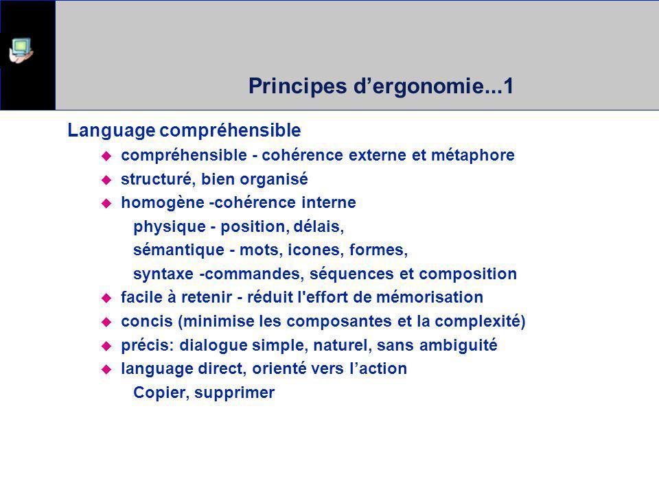 Principes dergonomie...1 Language compréhensible compréhensible - cohérence externe et métaphore structuré, bien organisé homogène -cohérence interne physique - position, délais, sémantique - mots, icones, formes, syntaxe -commandes, séquences et composition facile à retenir - réduit l effort de mémorisation concis (minimise les composantes et la complexité) précis: dialogue simple, naturel, sans ambiguité language direct, orienté vers laction Copier, supprimer
