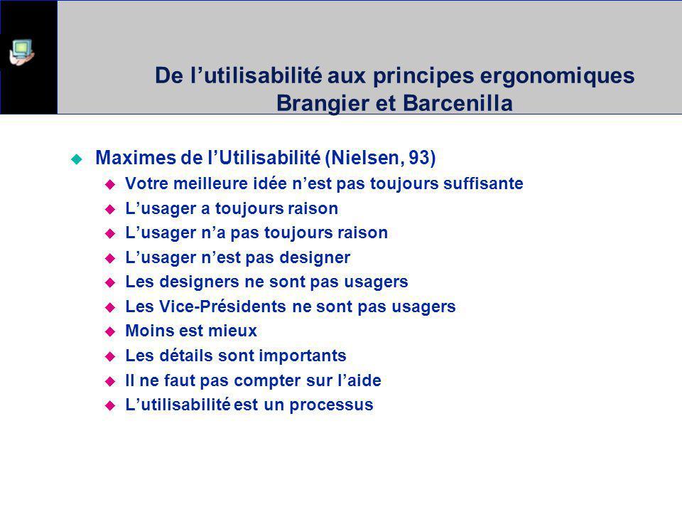 Approche des principes ergonomiques Bastien et Scapin 1993 Revenons aux principes ou heuristiques de conception..