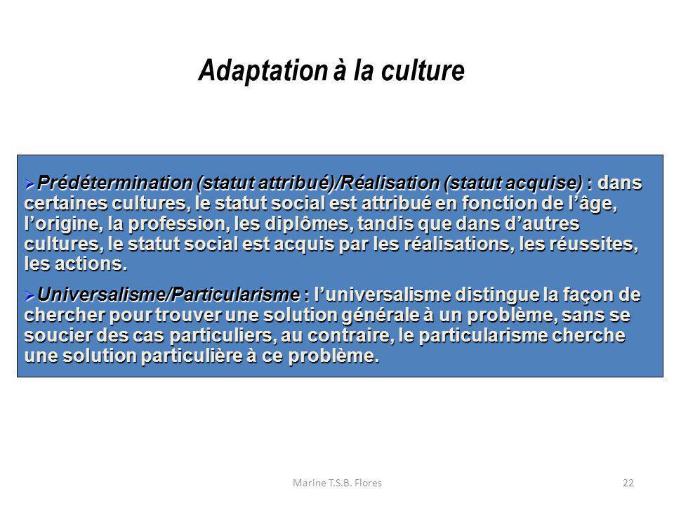 Marine T.S.B. Flores22 Prédétermination (statut attribué)/Réalisation (statut acquise) :dans certaines cultures, le statut social est attribué en fonc