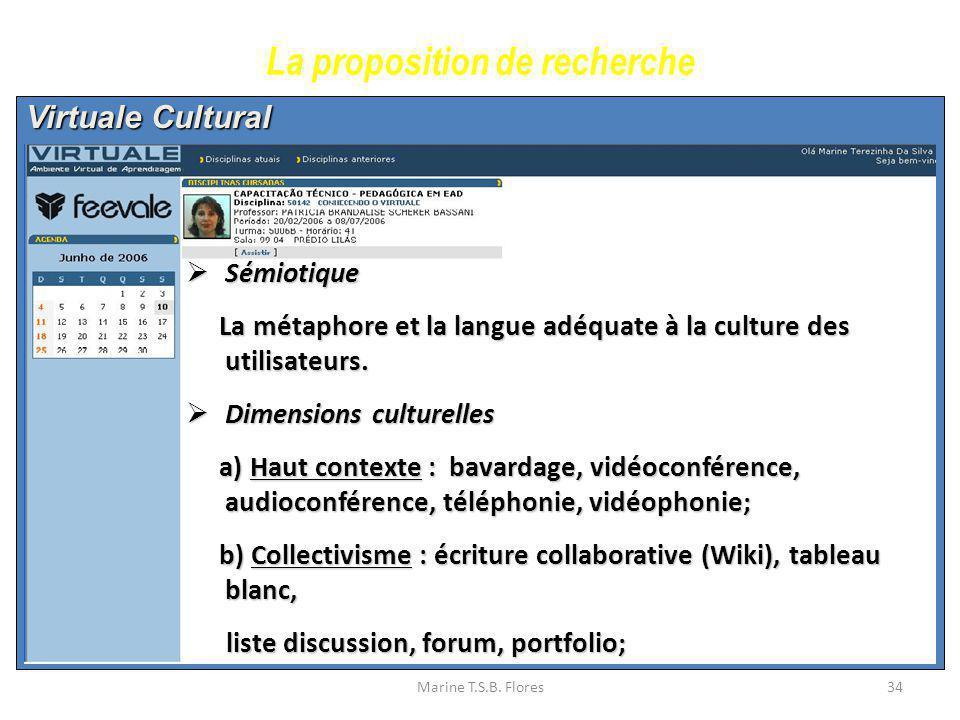 Marine T.S.B. Flores34 Virtuale Cultural La proposition de recherche Sémiotique Sémiotique La métaphore et la langue adéquate à la culture des utilisa
