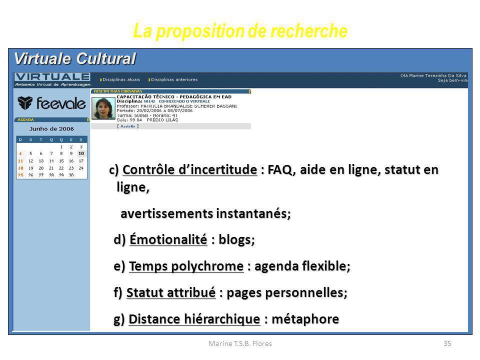 Marine T.S.B. Flores35 Virtuale Cultural La proposition de recherche c ) Contrôle dincertitude : FAQ, aide en ligne, statut en ligne, c ) Contrôle din
