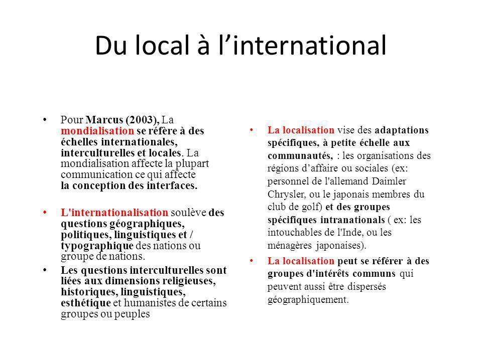 Pour Marcus (2003), La mondialisation se réfère à des échelles internationales, interculturelles et locales. La mondialisation affecte la plupart comm