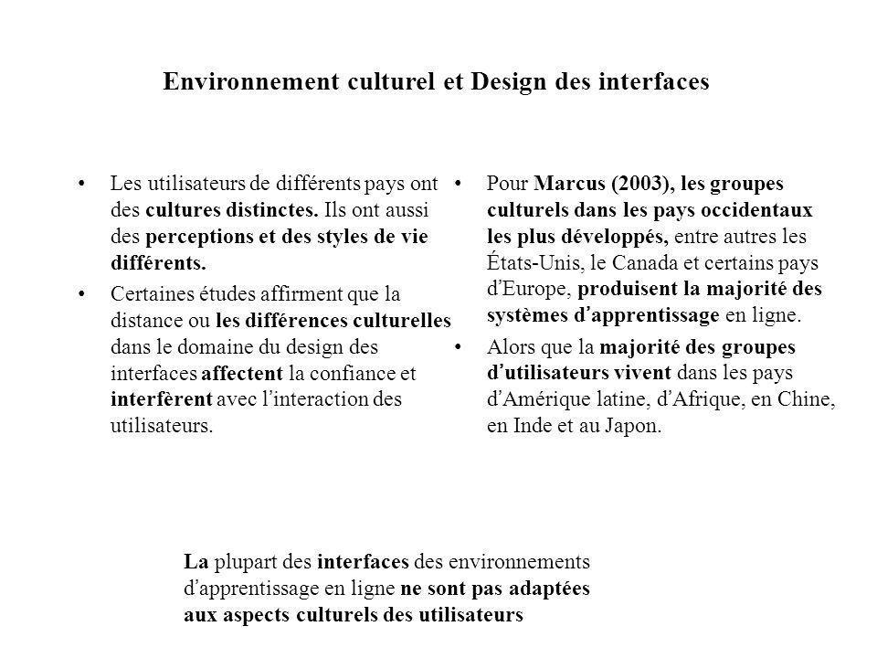 Environnement culturel et Design des interfaces Les utilisateurs de différents pays ont des cultures distinctes. Ils ont aussi des perceptions et des