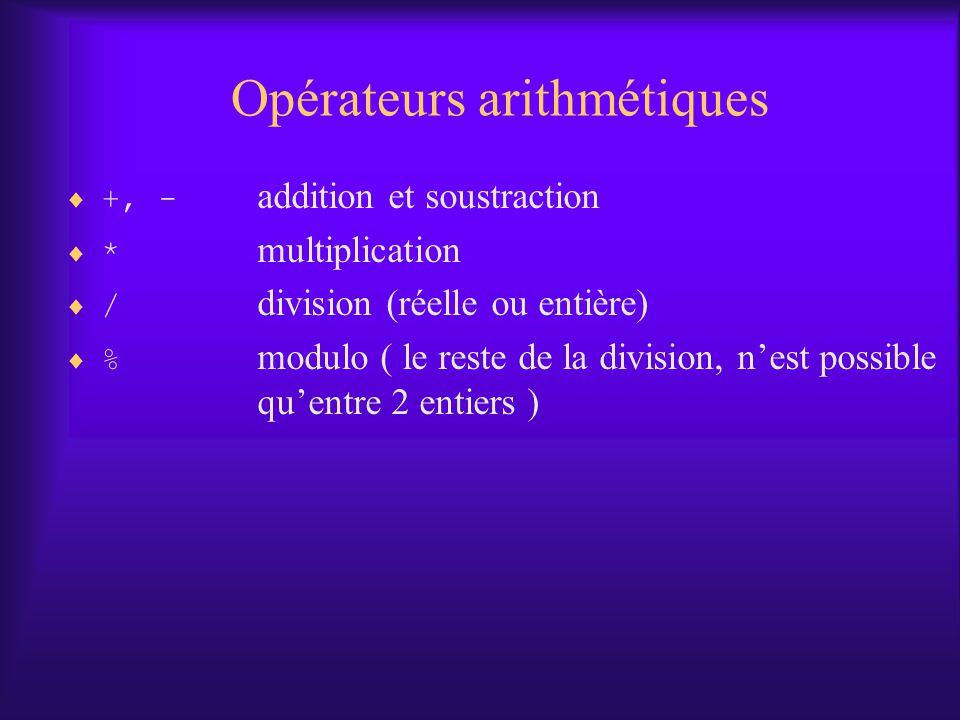 Opérateurs arithmétiques +, - addition et soustraction * multiplication / division (réelle ou entière) % modulo ( le reste de la division, nest possible quentre 2 entiers )