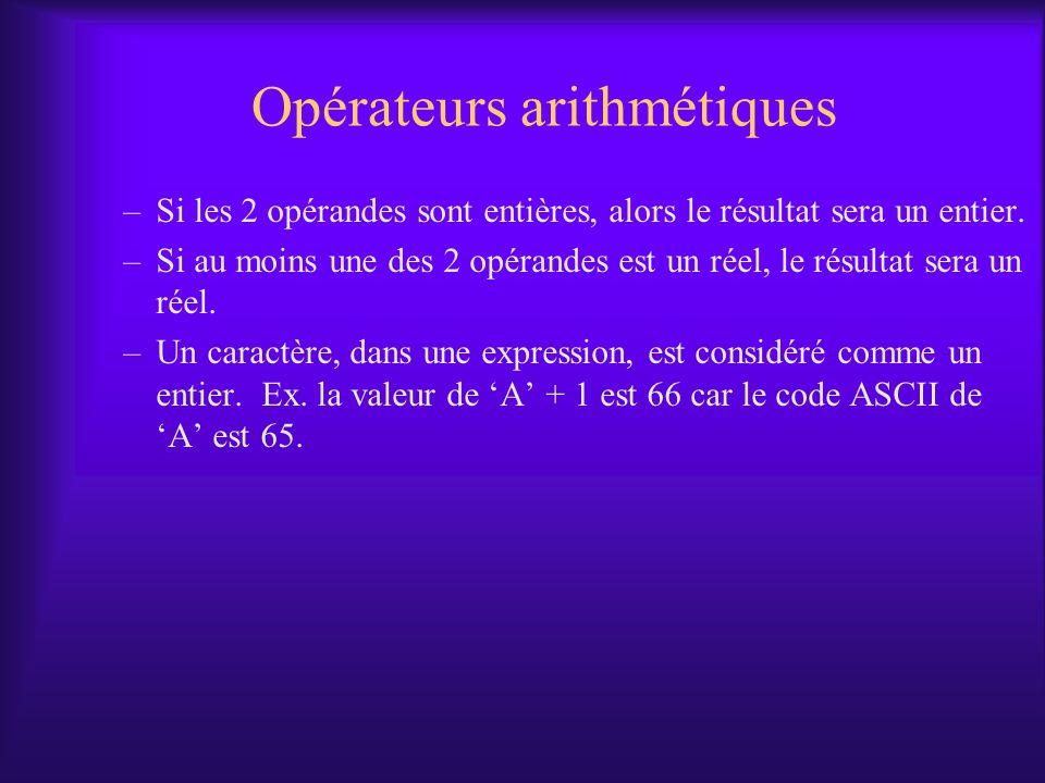 Opérateurs arithmétiques –Si les 2 opérandes sont entières, alors le résultat sera un entier. –Si au moins une des 2 opérandes est un réel, le résulta